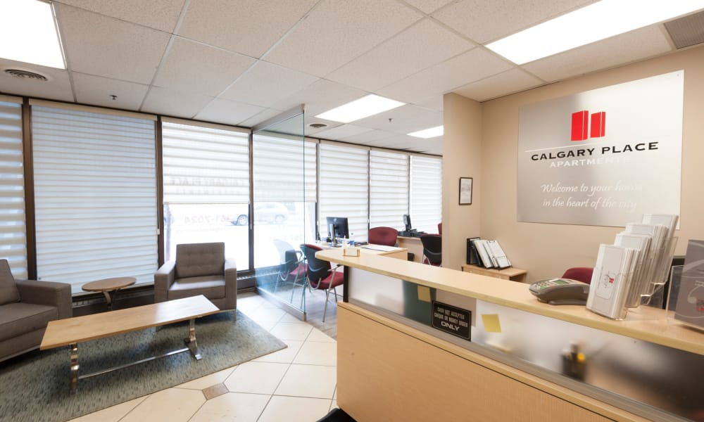 Leasing office at Calgary Place Apartments in Calgary