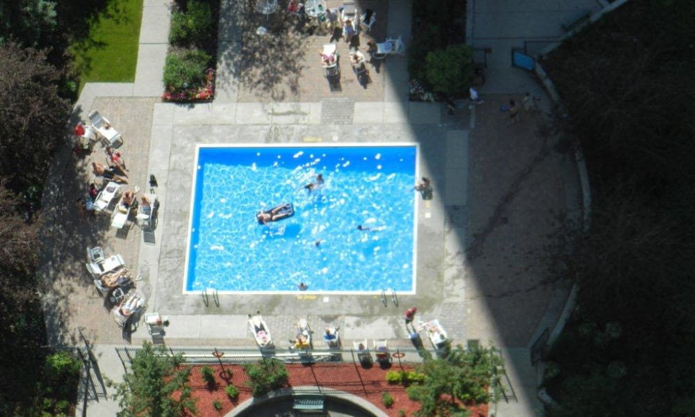 Sparkling swimming pool at Calgary Place Apartments in Calgary