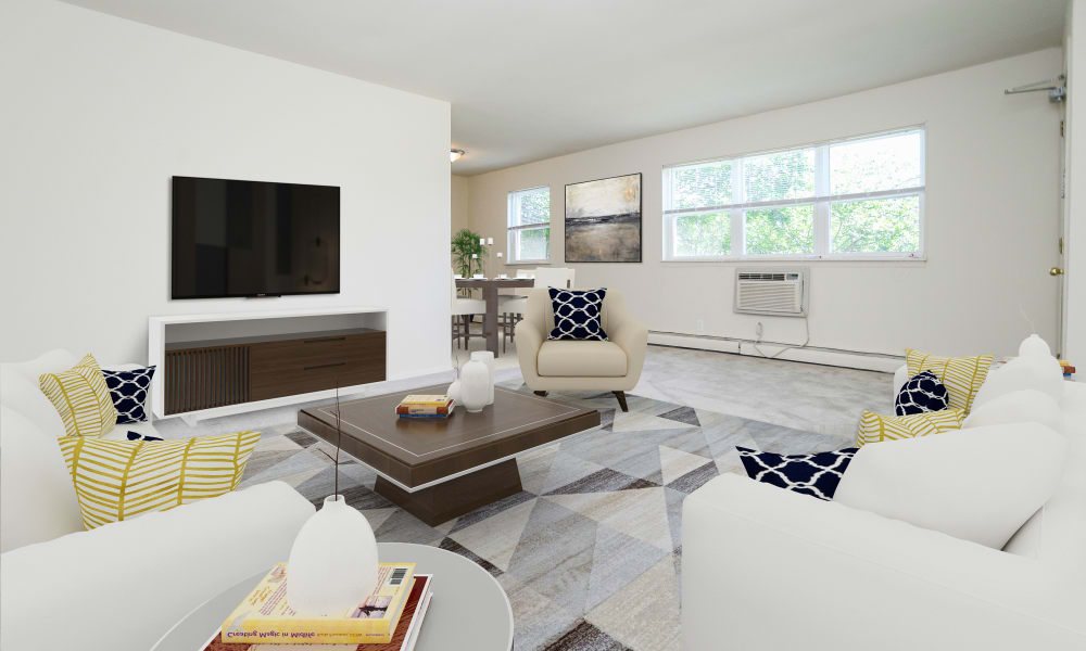Beautiful Living Room at Glen Ellen Apartment Homes in Long Branch, New Jersey