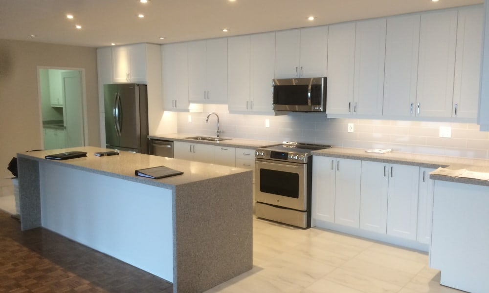 cascading counter top at Widdicombe Place in Etobicoke