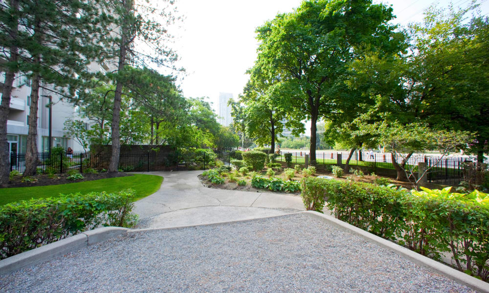 Well maintained lawns at Mississauga Place in Mississauga
