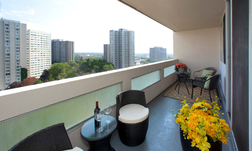 Large balconies at Mississauga Place in Mississauga