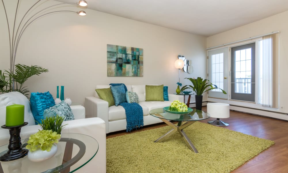 Enjoy a modern living room at Glenmore Heights apartments in Calgary