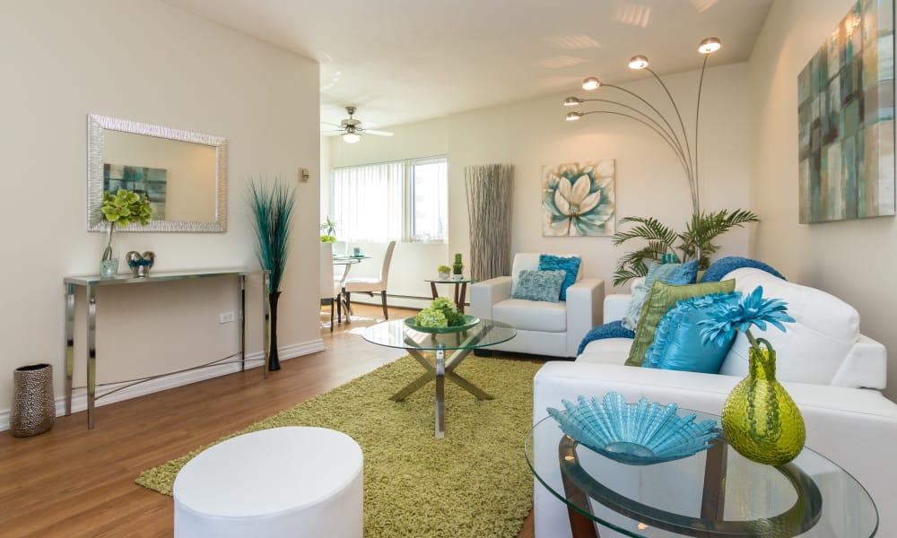 Spacious living room at Glenmore Heights in Calgary, Alberta