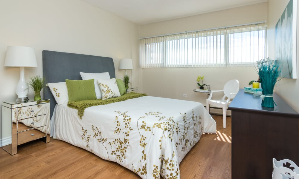 Naturally well-lit bedroom at Glenmore Heights apartments in Calgary