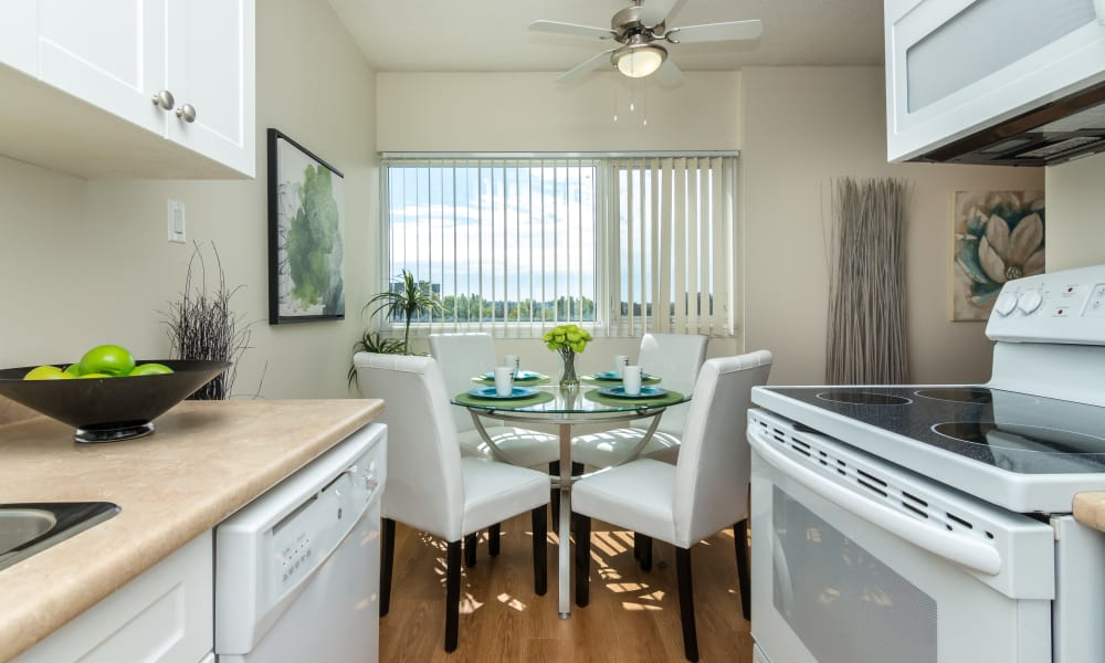 Well-equipped kitchen at Glenmore Heights apartments in Calgary