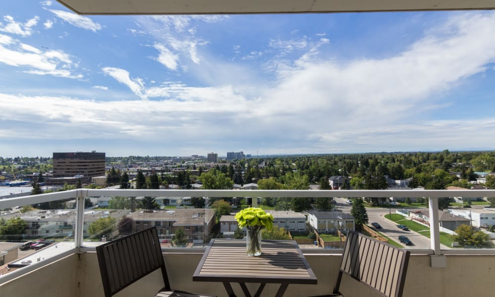 Calgary view from balcony at Glenmore Heights apartments