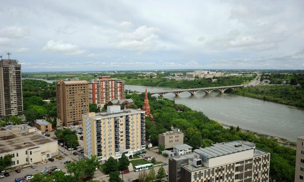A birds-eye view of the neighborhood from Saskatoon Tower apartments in Saskatoon