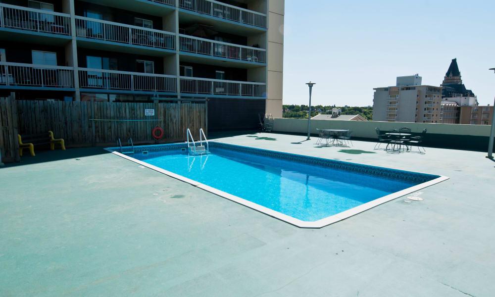 Refreshing swimming pool at Saskatoon Tower in Saskatoon, Saskatchewan