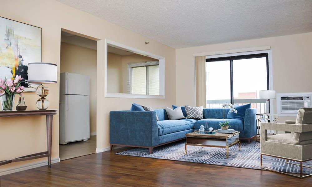 Enjoy a modern living room at Saskatoon Tower in Saskatoon, Saskatchewan