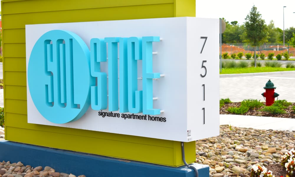 Apartment signage at Solstice Signature Apartment Homes in Orlando, FL