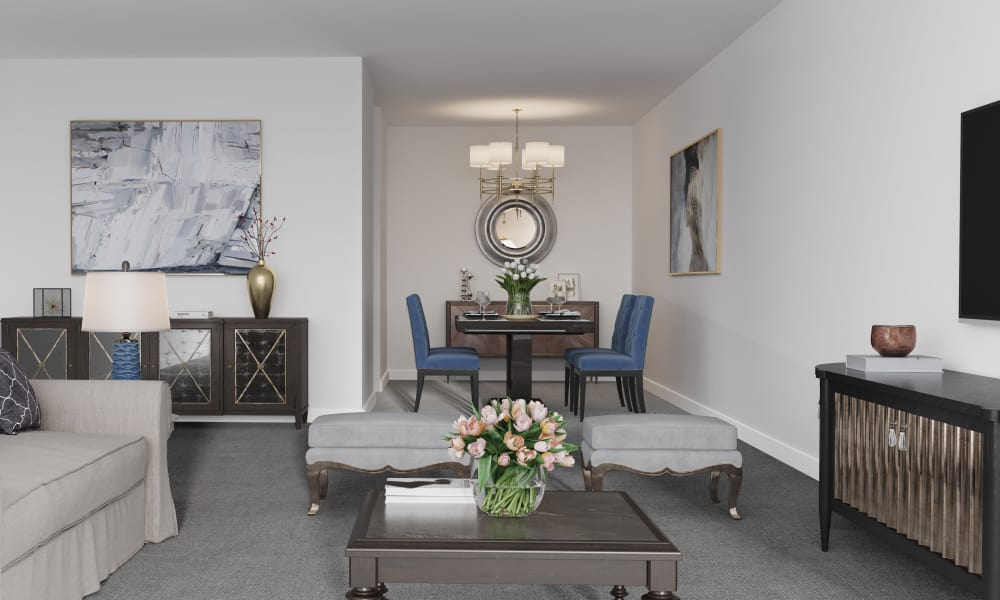 Enjoy apartments with a dining room at Spring Garden