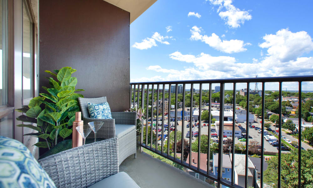 Enjoy a cozy, private balcony at MacDonald Apartments