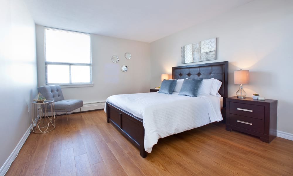 Large master bedroom at MacDonald Apartments in Halifax