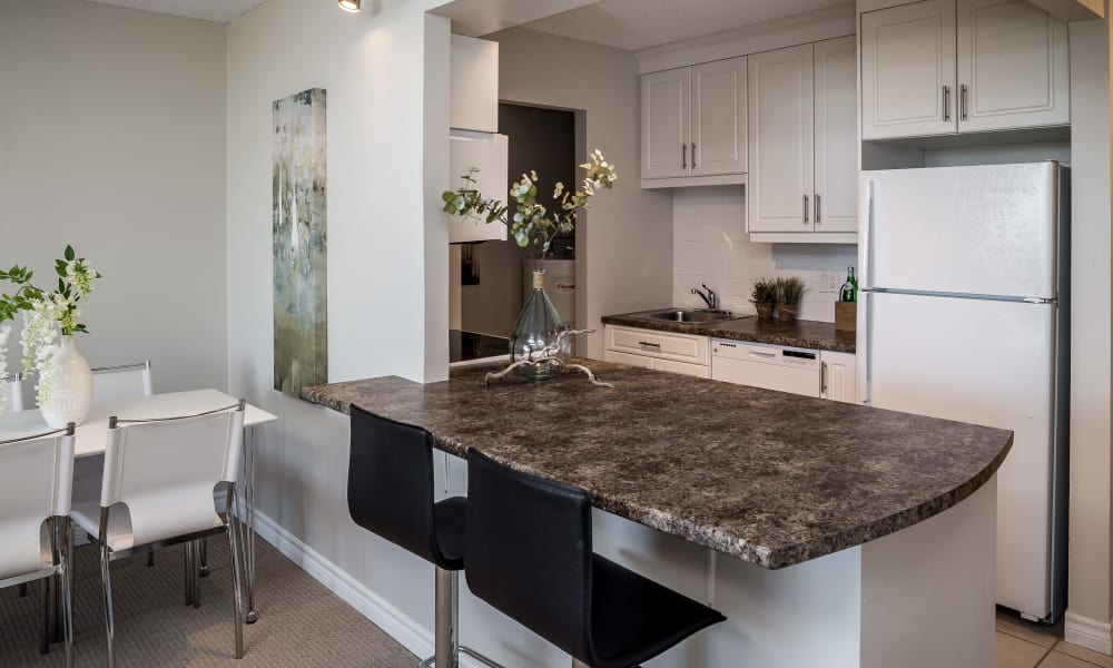 Kitchen island at Cunard Apartments in Halifax