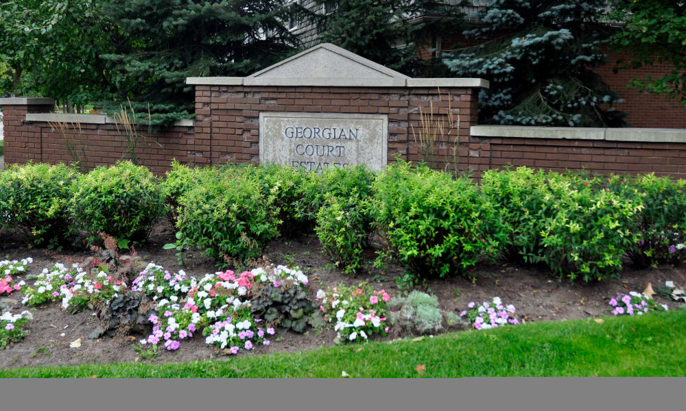 Monument sign at Georgian Court Estates in Burlington, Ontario