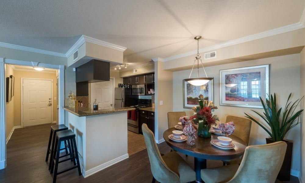 Kitchen and dining room combo at The Paramount in Houston, Texas