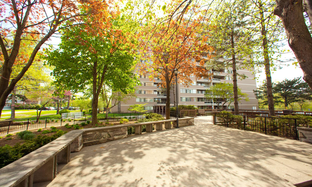 Spacious area outside apartments in North York, Ontario