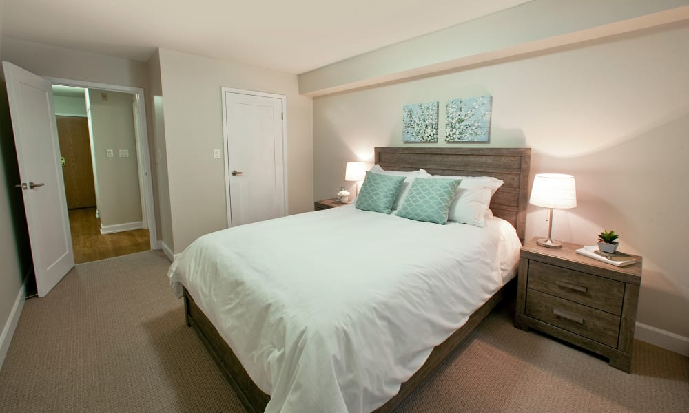Comfy bed at StoneCrest Village in Halifax, Nova Scotia