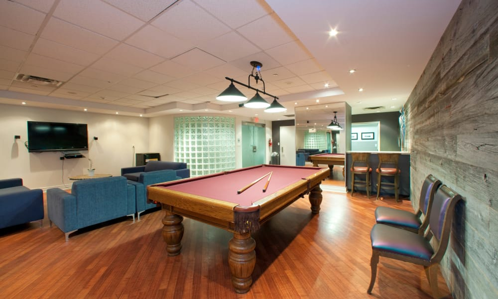 Clubhouse with billiards table at Residences on Bloor
