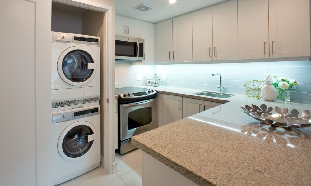 Fully-equipped kitchen at Residences on Bloor in Toronto
