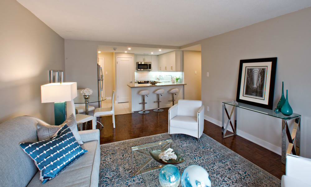 Enjoy an ample living space at Residences on Bloor in Toronto