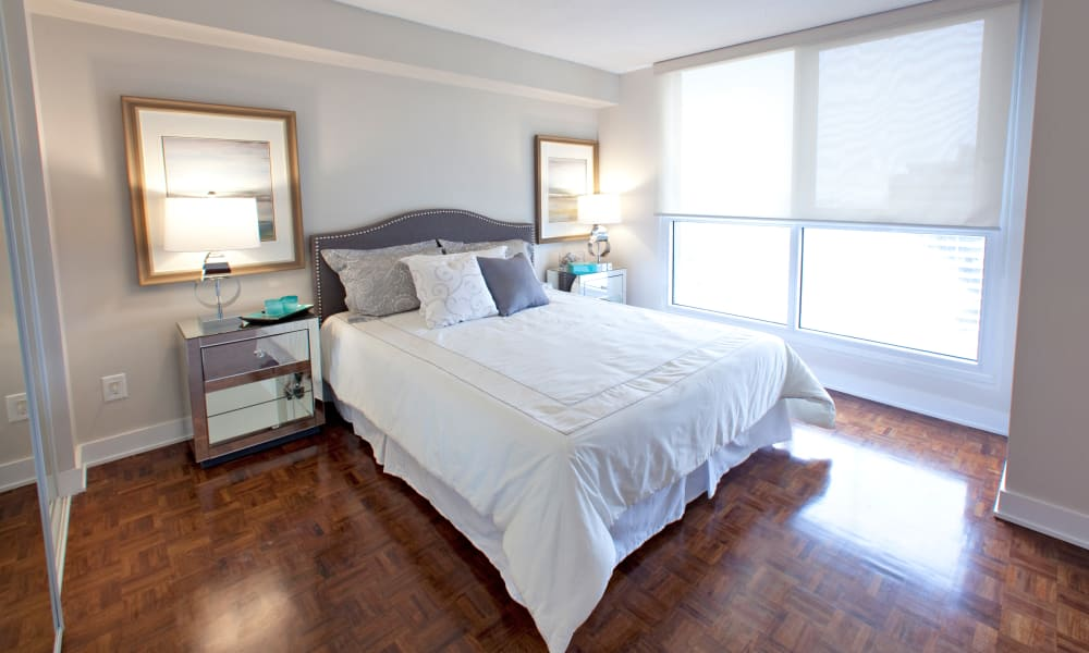 Cozy bedroom at Residences on Bloor in Toronto