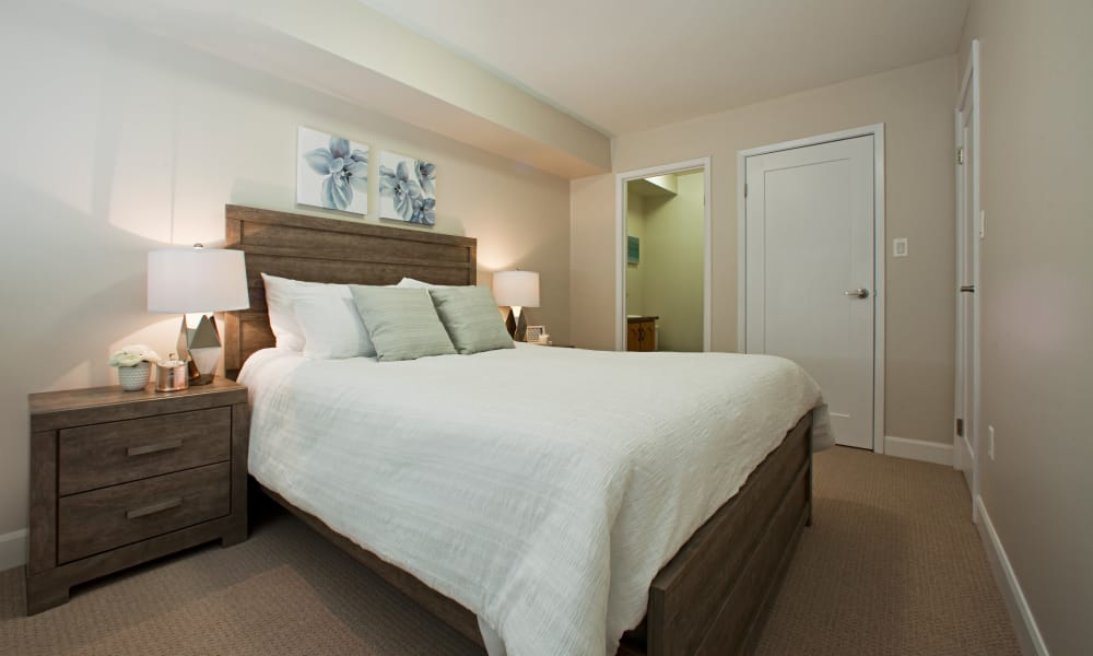 Enjoy a cozy bedroom at StoneCrest Village in Halifax, Nova Scotia