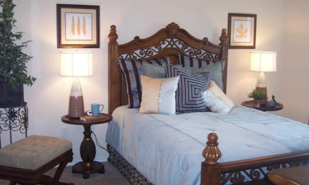 Beautiful bedroom at Stone Lake Apartments in Grand Prairie, Texas