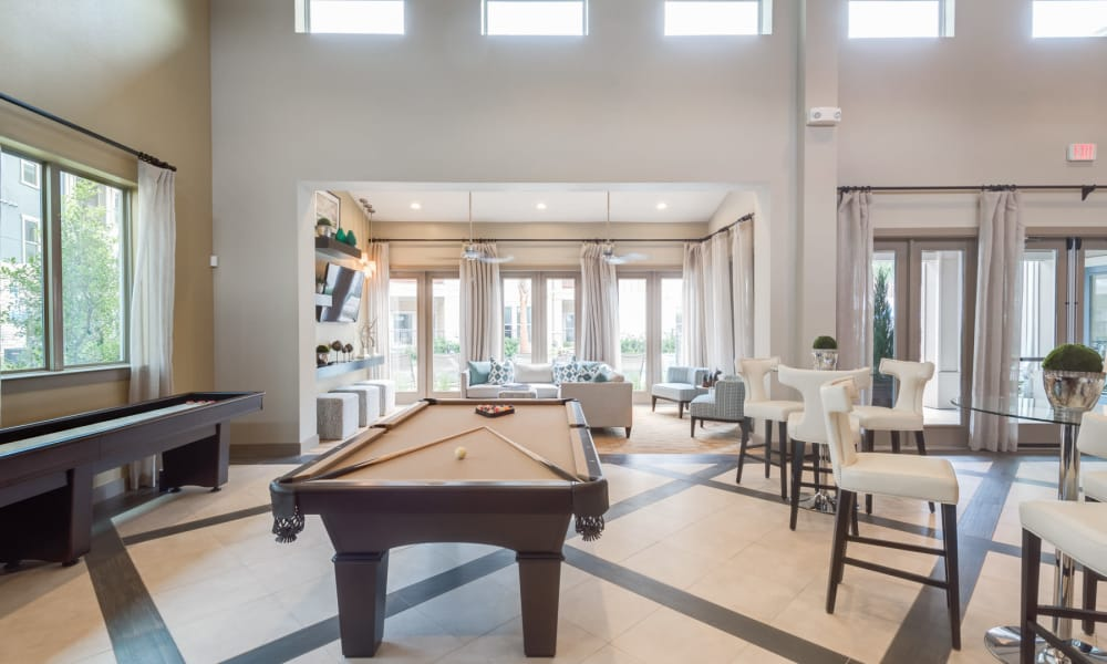 Clubhouse with billiards table at 91 Fifty in Houston, Texas