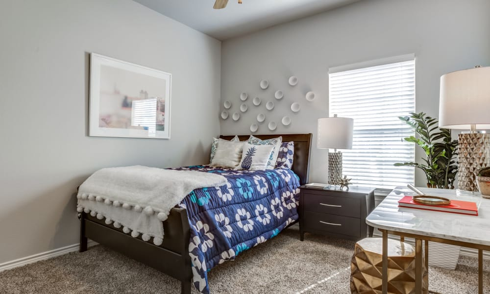 Naturally well-lit bedroom at Azul Apartment Homes in San Antonio, Texas