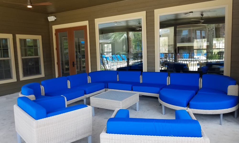 Porch with beautiful furniture at Azul Apartment Homes in San Antonio, Texas