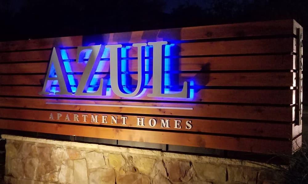 Monument sign at Azul Apartment Homes in San Antonio, Texas