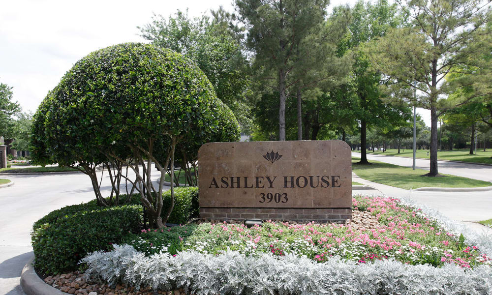 Entrance sign at Ashley House in Katy, Texas