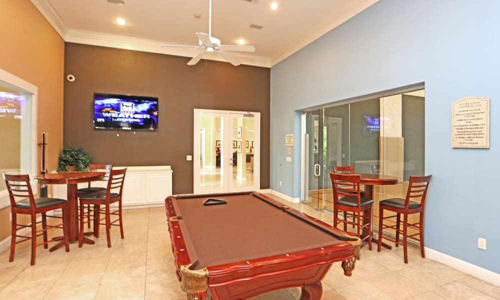 Clubhouse with billiards table at Ashley House in Katy, Texas