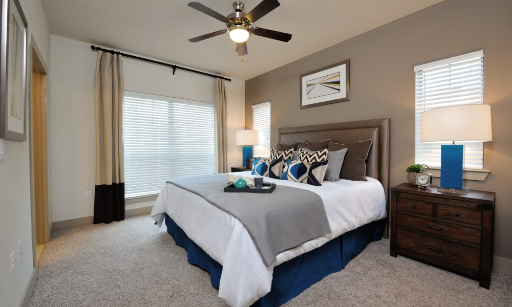 Naturally well-lit bedroom at Cordevalle Apartments in Round Rock, Texas