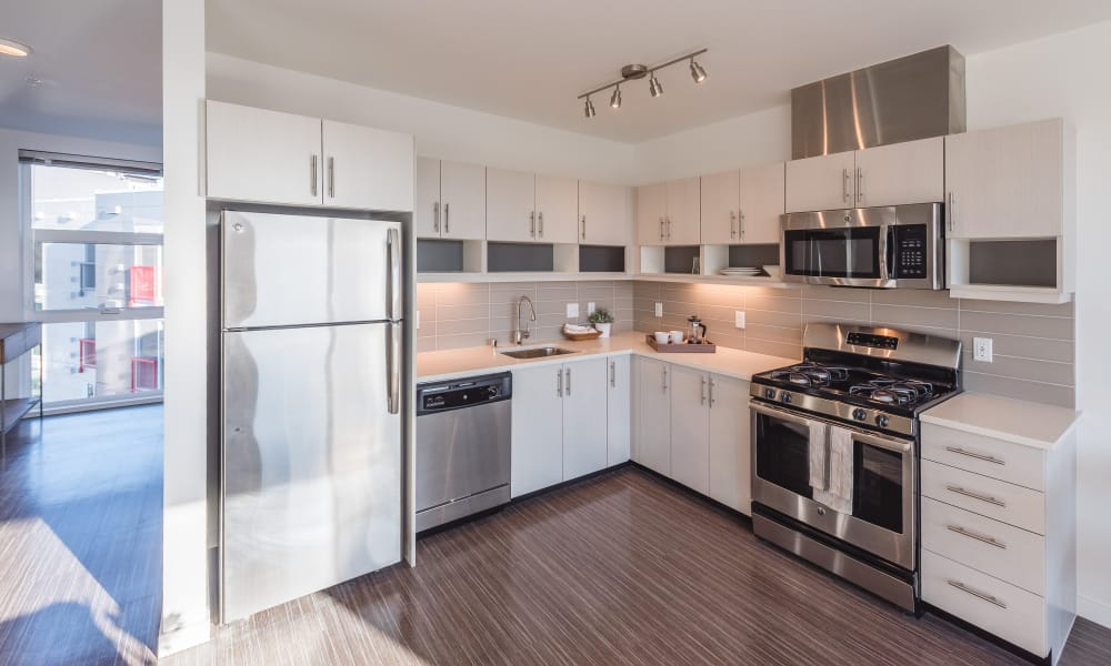Stainless steel appliances at Session Apartments in Seattle