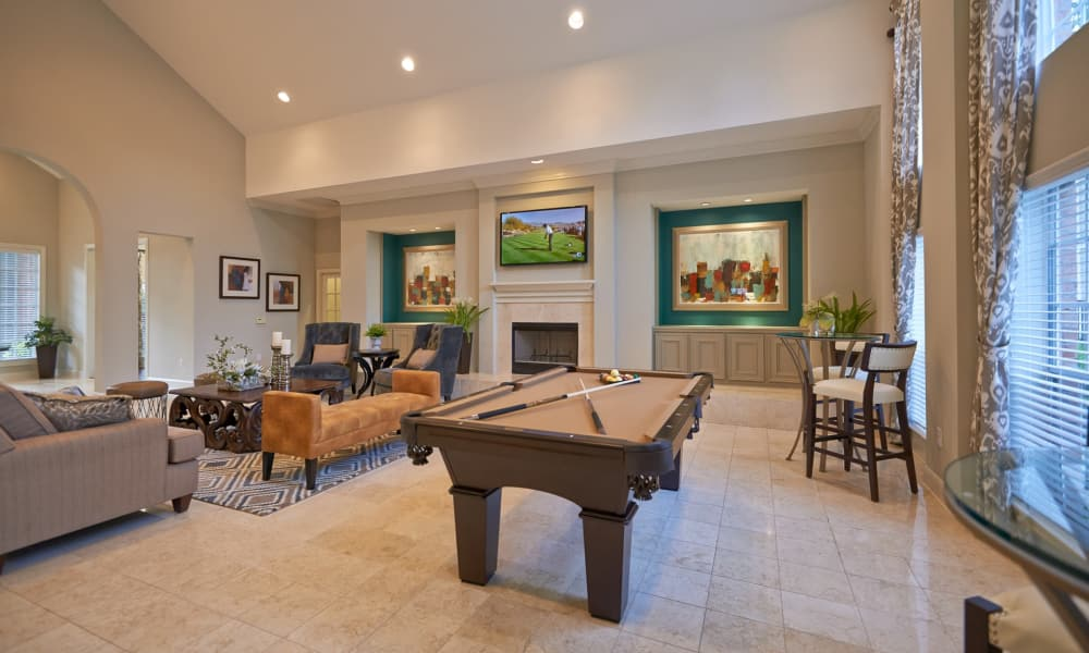 Billiards table at Preserve at Cypress Creek in Houston, Texas