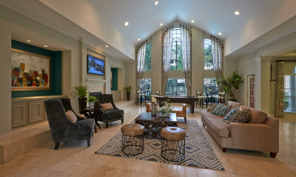 Clubhouse living room at Preserve at Cypress Creek in Houston, Texas