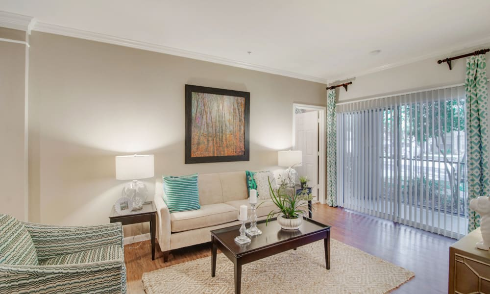 Preserve at Cypress Creek offers a naturally well-lit living room in Houston, Texas