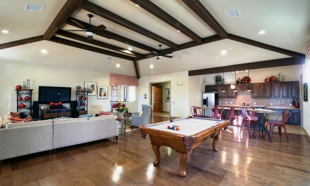 Clubhouse with hardwood flooring at Riverside Villas in Fort Worth, Texas