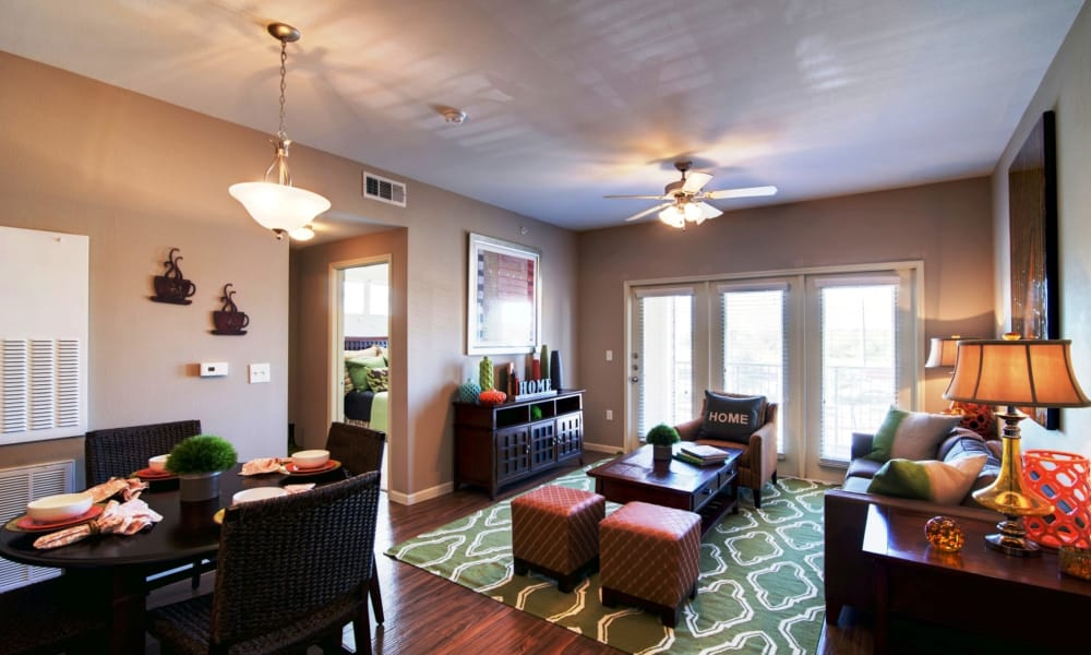 Naturally well-lit living room at Riverside Villas in Fort Worth, Texas