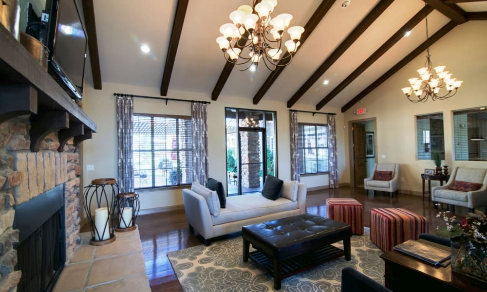 Riverside Villas offers a naturally well-lit living room in Fort Worth, Texas