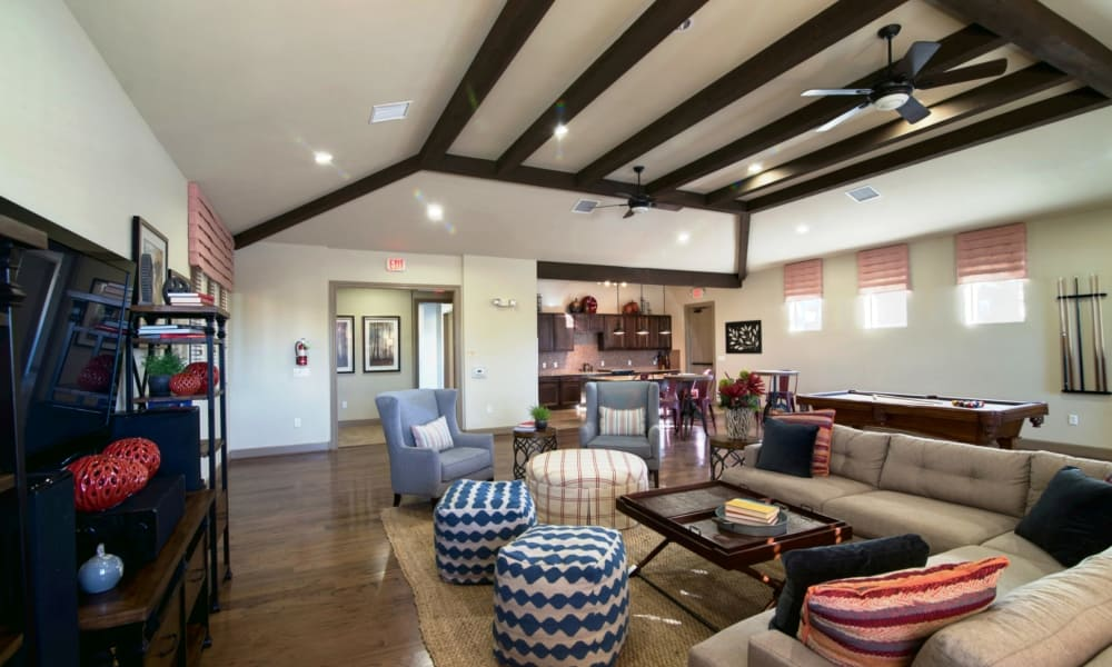 Clubhouse with billiards table at Riverside Villas in Fort Worth, Texas