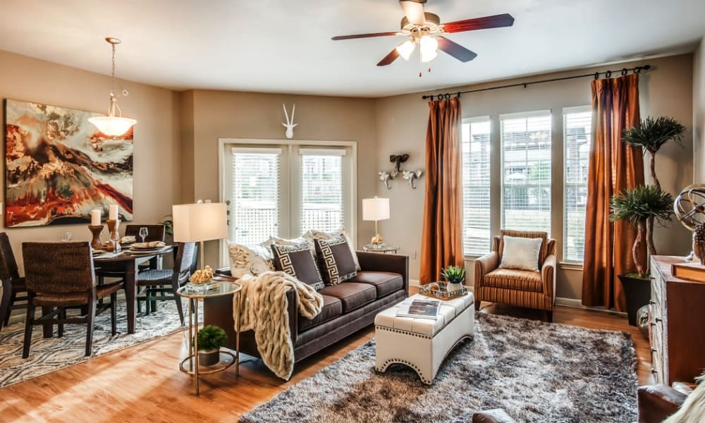 Our apartments in Fort Worth, Texas have a naturally well-lit living room