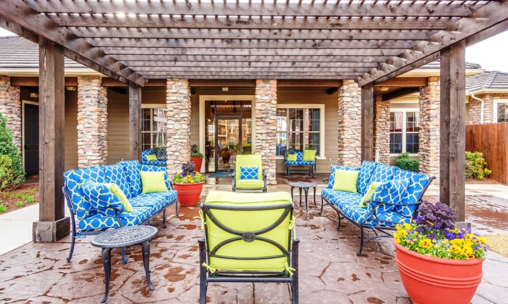 Outdoor furniture at Riverside Villas in Fort Worth, Texas