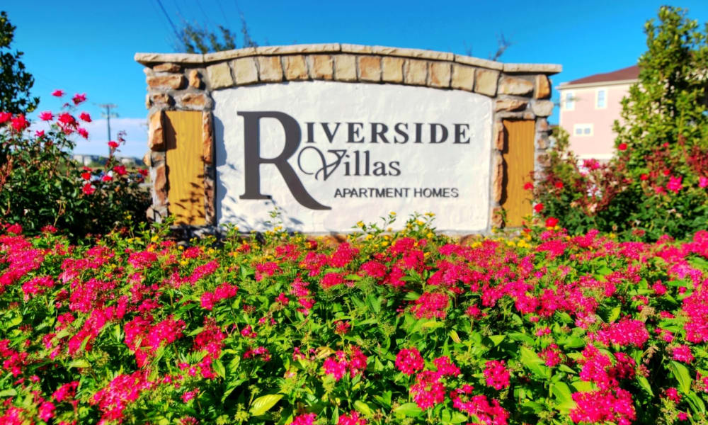 Entrance sign at Riverside Villas in Fort Worth, Texas