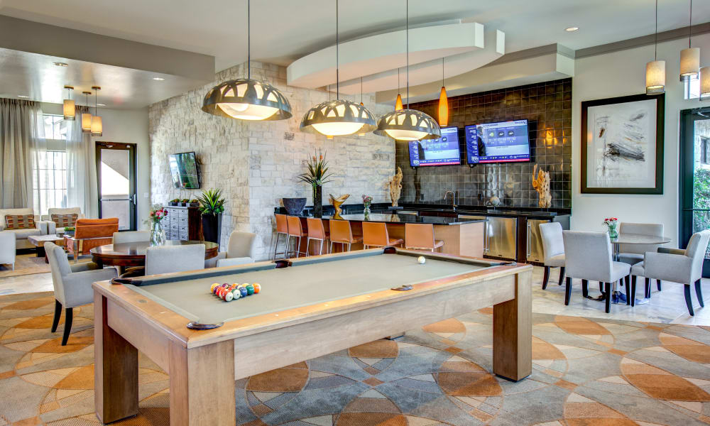 Clubhouse with billiards table at Estates at Bee Cave in Bee Cave, Texas