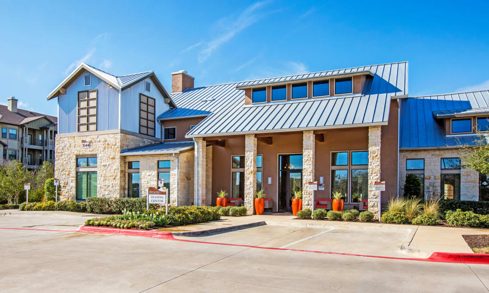 Leasing center exterior view at Estates at Bee Cave in Bee Cave, Texas