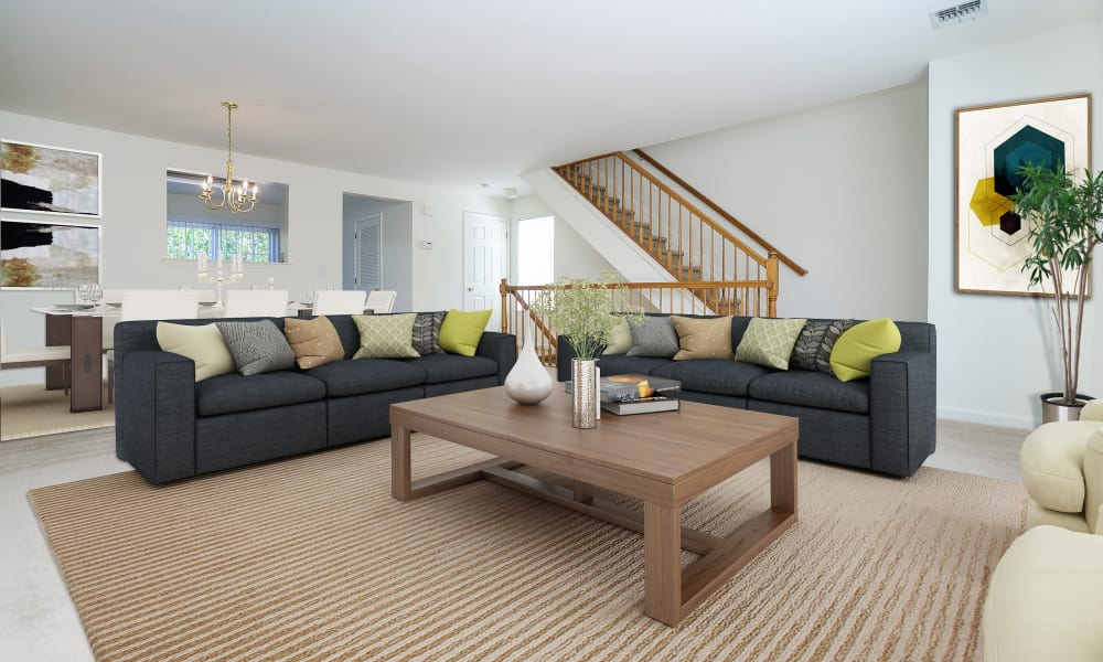 Spacious Living Room at Mews at Annandale Townhomes in Annandale, New Jersey